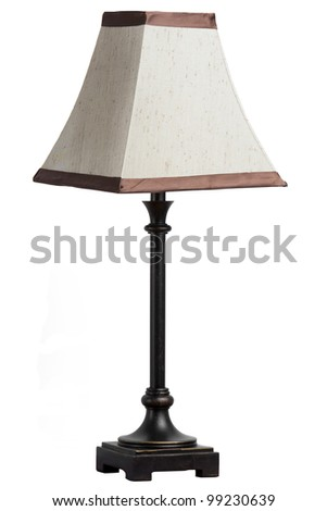 A table lamp with shade isolated on white background - stock photo