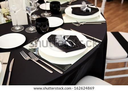 A table set for a reception - stock photo