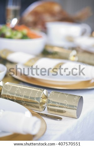 A table set for Christmas dinner - stock photo