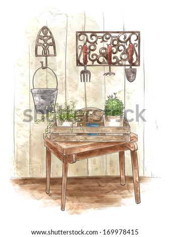 A table with plants on it and a rack of gardening tools behind it. - stock photo