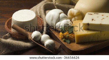 A table with Ricotta Cheese, mozzarella, Provolone, pecorino Still life - stock photo