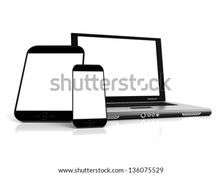 A tablet, a mobile phone and a laptop with blank screens ideal for customization - stock photo