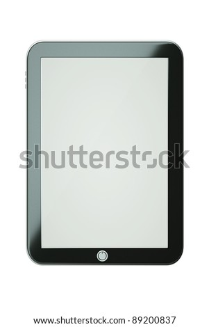 a tablet computer isolated on white, tablet pc - stock photo
