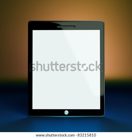 a tablet computer on color background - stock photo