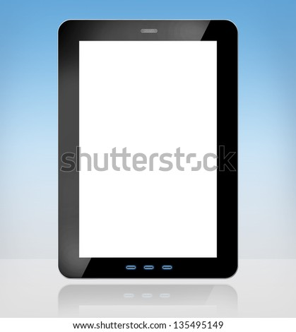 a tablet computer on grey background