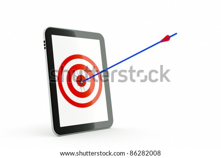 a tablet computer with aim and arrow  isolated on white - stock photo