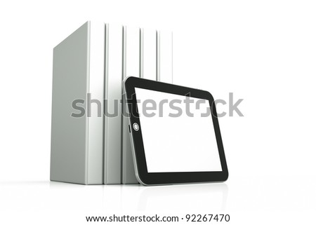 a tablet computer with books  on white - stock photo