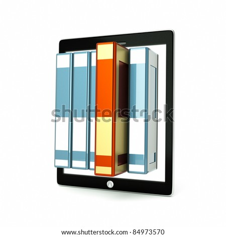 a tablet computer with colorful books inside isolated on white - stock photo
