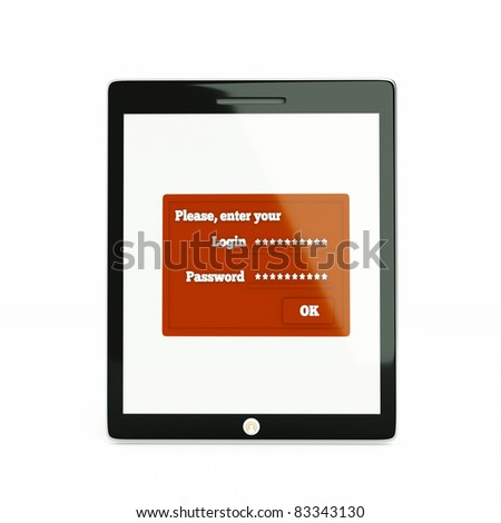 a tablet computer with identification dialog - stock photo
