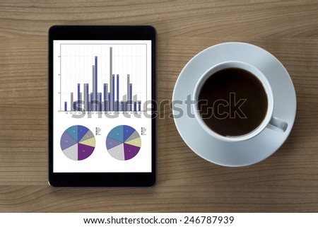 A tablet computer with tables and statistics and a cup of coffee on a wooden desktop - stock photo