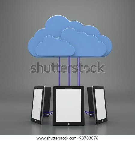 a tablet computers with blue clouds, cloud computing, tablet pc - stock photo