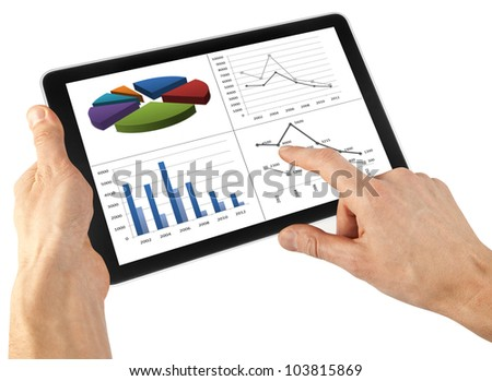 a tablet on the white backgrounds - stock photo