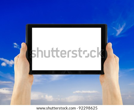 a tablet on the white backgrounds
