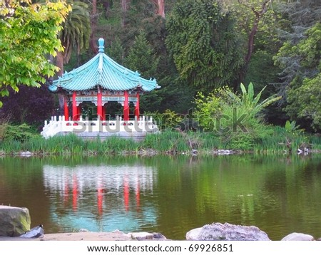 A Taiwanese Gazebo in San Francisco's Golden Gate Park - stock photo