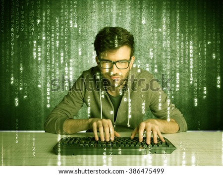 A talented hacker scanning online passwords database and hacking emails of users with numbers, codes, letters running in the background concept - stock photo