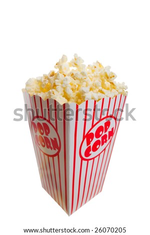 A tall classic box of theater popcorn - stock photo