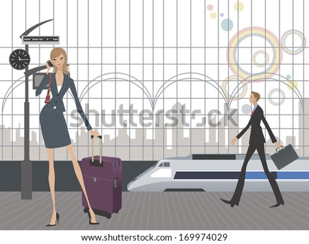 A tall lady using a cell phone while a train and man with a briefcase pass by. - stock photo