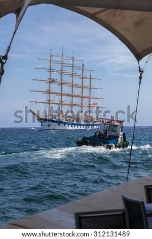 A Tall ship in Port Curacao ( Dutch Antilles)  an island in the Caribbean Ocean  - stock photo