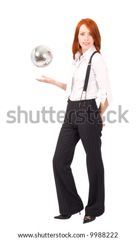 """a tall woman wit levitating mirror ball over her hand - See similar images of this """"Gorgeous business women"""" series in my portfolio - stock photo"""