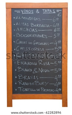 A Tapas menu in Valencia, Spain isolated on white.
