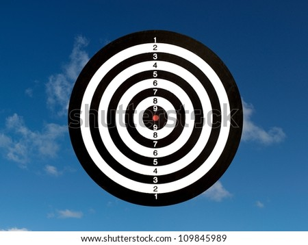 A target isolated against a blue sky