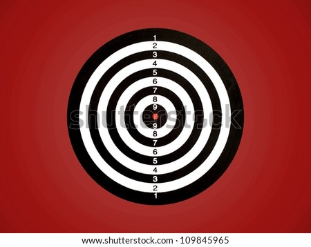 A target isolated against a red background - stock photo