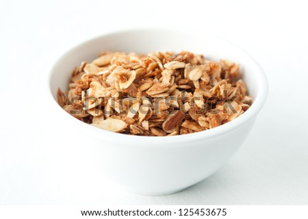 a tasty bowl of hand made granola, a healthy choice - stock photo