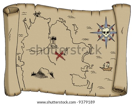 A tattered, blank pirate treasure map. - stock photo