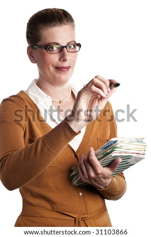 A teacher writes with pen on white background - stock photo