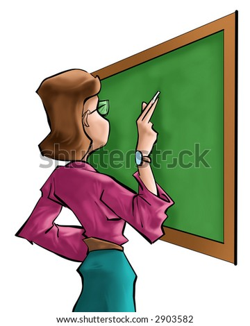a teacher writting in front of blackboard
