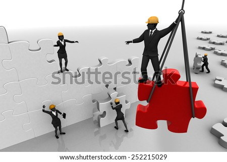 A Team assembling a jigsaw puzzle. A team working on a giant jigsaw puzzle project, demonstrates teamwork and synergy. - stock photo