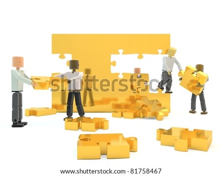 A team building a gold wall against a white isolated background - stock photo