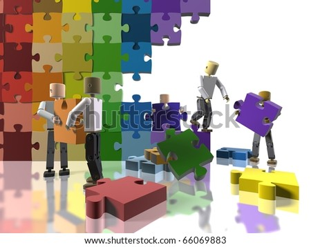 A team collaborating to build a rainbow flag - stock photo