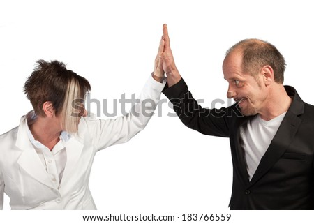 A Team of Businesspeople are appreciating each other on a white background. - stock photo
