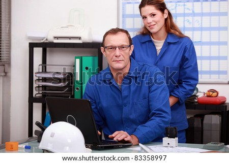 A team of construction workers - stock photo