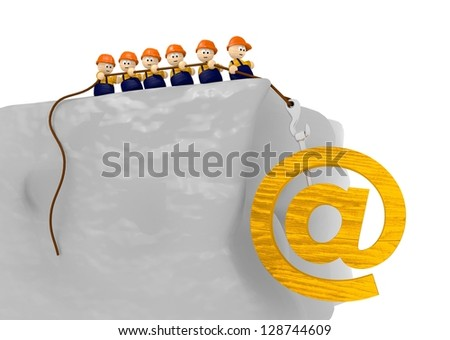 a team of cute 3d character pull up a wooden email contact sign - stock photo