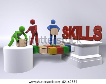 A team of diversity building skills - stock photo
