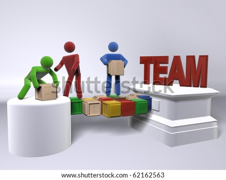 A team of diversity engaging in team work - stock photo