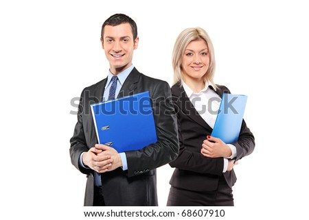A team of happy businesspeople holding a fascicule with documents isolated on white background - stock photo