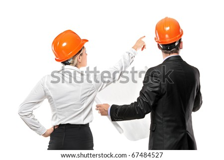 A team of male and female architect looking isolated on white background - stock photo