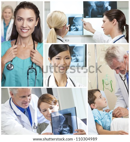 A team of medical doctors & nurses men and women with patients in a hospital, looking at X-rays with stethoscopes - stock photo