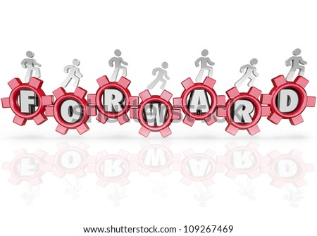 A team of people walking on gears featuring letters from the word Forward, marching to the future to achieve growth and success - stock photo