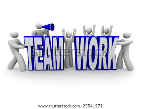 A team of people work together to build the word Teamwork