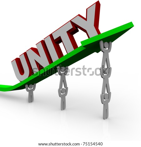 A team of people work together to lift an arrow rising up, symbolizing cooperation and successful group effort - stock photo