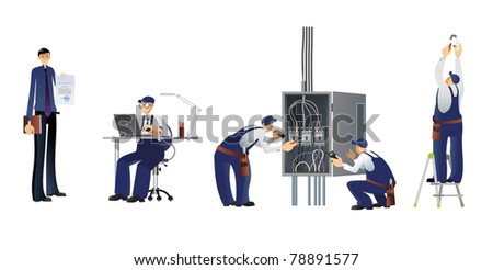 A team of professionals designing, installing wired systems and electricity - stock photo
