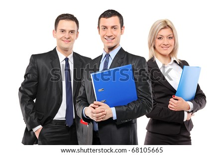 A team of three smiling businesspeople isolated on white background - stock photo