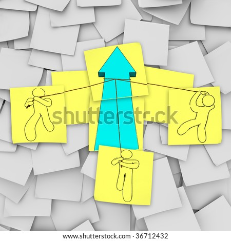 A team pulls up a growth arrow in this episode of Sticky Note Theatre. - stock photo