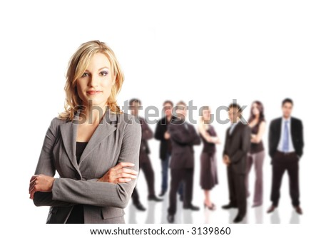 a team with its leader against white background - stock photo