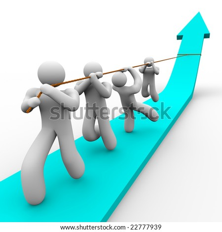 A team works together to pull up a growth arrow - stock photo