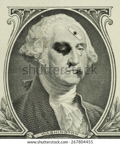 A teary eyed and severely beaten George Washington on a dollar bill representing a weakened and sagging U.S. economy. - stock photo